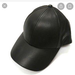 Aritzia Wilfred Black Faux Leather Baseball Cap